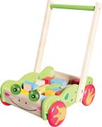 SpielMaus Holz Laufwagen mit Bauklötzen, 20 Stück
