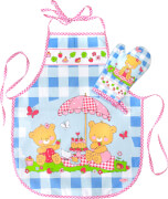 Kinder-Backschürze mit Topfhandschuh